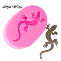 şeker püresi toptan satış-DIY gecko şekli Silikon Kalıpları yılan Fondan Kek Dekorasyon Araçları Gumpaste Şeker Yapıştır Şeker Çikolata Kalıpları DY0028