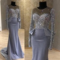 cinza de cetim vestido de noite venda por atacado-Sheer Cristais Neck Beaded Satin Grey vestidos de noite 2020 mangas compridas elegante formal do partido Peplum Pageant celebridades Vestidos de baile