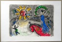 Wholesale art horses oil painting resale online - Marc Chagall Sun with Red Horse Home Decor Handpainted Oil Painting On Canvas Wall Art Canvas Pictures
