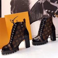 yüksek topuklu kaymaz toptan satış-Yüksek Clunky Topuklu YıLDıZ TRAIL Ayak Bileği BOOT Womens Dantel up Martin Sneakers Üzerinde Kayma Kutusu ile LLL21 Tasarımcı Çizmeler Ladie