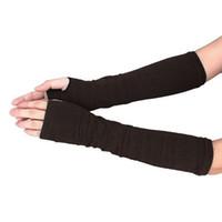 ingrosso braccio a banda lunga a righe-Guanti mezze dita a manica lunga elastica morbida elasticizzata Lady Nuovo