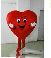 kırmızı kalp maskot kostümleri toptan satış-2018 Yüksek kalite sıcak kırmızı kalp aşk maskot kostüm AŞK kalp maskot kostüm ücretsiz kargo
