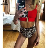 ingrosso vestiti di bagno rossi sexy-Sexy Bikini leopardo rosso Set 2019 New Swimwear donna a vita alta Costume da bagno Biquini Mujer Push Up Costume da bagno Beach Wear Swim