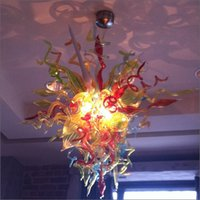 araña decorativa grande al por mayor-Personalizado hecho a mano hecho a mano de vidrio soplado Chihuly araña de vidrio soplado Aire envío AC bombillas led 120v / 240v gran Villa Light