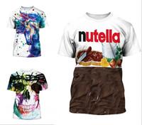 chicos adolescentes cortos al por mayor-Nueva camiseta de los adolescentes para los muchachos o las muchachas 3D cráneo Unicornio chocolate impreso manga corta cuello redondo camiseta del verano