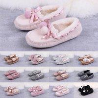 moccasin loafers women toptan satış-2020 Kadın Ayakkabı Avustralya Tekne Günlük Ayakkabılar KIDS Kar Beyaz Pembe Kürk Slaytlar Loafers ilmek botlar Yansıtıcı ışıklı payetler mokasen