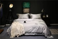 Wholesale grey modern bedding for sale - Silver grey purple Luxury Egyptian cotton bedding set queen king size duvet cover bedsheet set oriental embroidery beddingset