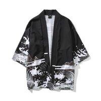 hırka stilleri erkekler toptan satış-Erkek Kimono Japon Giysileri Streetwear Rahat Kimono 2018 Yaz Sonbahar Ceketler Harajuku Japonya Tarzı Hırka Dış Giyim Erkekler için Bırak gemi