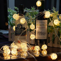 Wholesale handmade house decorations resale online - High Quality5 Meter Handmade Ranttan Ball Led String Light By Aa Battery Fairy Party Light Wedding Christmas Decoration