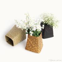 früchte korb kleidung großhandel-Natürliche dekorative Wicker Woven Blumentopf Korb Tabletop Organizer