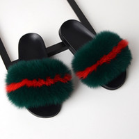Wholesale pink fur slides resale online - 2020 Real Fur Slippers Fur Women Slides Home Furry Flat Sandals Female Cute Fluffy Slippers House Shoes Woman