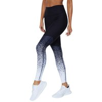 леггинсы с градиентом цвета оптовых-Women Fitness Leggins New Design Elastic Leggings Gradient Color Patchwork 3D Digital Printing Legging Trousers Pants Sportswear