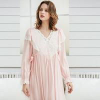 frauen s weiße baumwoll-nachthemden großhandel-Gentlewoman Nachthemd Vintage Lace Cotton Nachthemd Damen Elegant White Nachtwäsche Kleid Langarm Nachthemd Pink LadiesMX190822