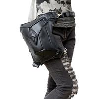 caja del teléfono de rock al por mayor-Steel Master Fashion Gothic Steampunk Retro Rock Bolso de hombro de cuero Packs Hombres Mujeres Riñonera Phone Case Holder Bag 2015