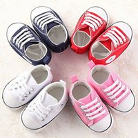 Wholesale baby boys pre walker shoes resale online - New Hot Sale Newborn Baby Boy Girl Pram Shoes Toddler sofe Sole Pre Walker Shoes White Sneakers Months
