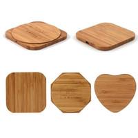 qi ladegerät holz großhandel-Bambus Holz Holz Qi Wireless Charger Pad Schnellladestation mit USB-Kabel Telefon Ladetablett Aufladen für iPhone XS MAX XR 8