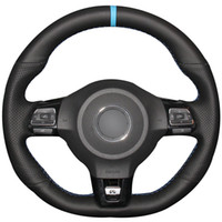 Wholesale car vw gti for sale - Group buy Black Natural Leather Light Blue Marker Car Steering Wheel Cover for Volkswagen Golf GTI MK6 VW Polo GTI Scirocco R Passat CC