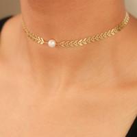 Wholesale pearl pendant neck resale online - Women Girls Simple Alloy Fish Scale Creative Pearl Neck Chain Choker Necklaces