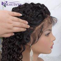 peruca virgem encaracolado malaysian da parte dianteira do laço venda por atacado-Beau Diva Curly 360 Lace frontal peruca de cabelo humano Frente perucas Remy Malásia Virgin perucas de cabelo para as mulheres end completa
