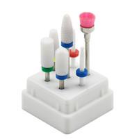 conjunto de caja de arte de uñas al por mayor-7 piezas Nail cerámica Brocas set con la caja fresa de manicura Accesorios de la máquina eléctrica uñas contenidos Herramientas Arte