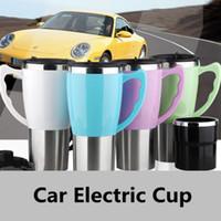 elektrische teekessel großhandel-Edelstahl Auto Elektrische Tasse Edelstahl Isolierflasche Tasse Tragbare Reise Wasserkocher Kaffee Tee Wasserkocher HHA213
