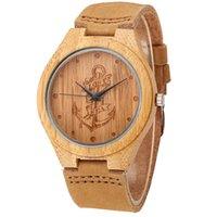 relojes de anclaje al por mayor-Anclas de mar perdidas Diseño Relojes de madera de bambú Relojes de pulsera de bambú de madera de cuarzo de Japón Cuero genuino Hombres Mujeres Relojes de lujo