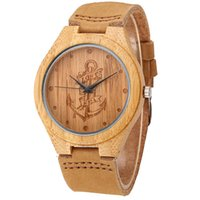 часы-анкерные оптовых-Lost sea Anchors Design Bamboo Wood Watches Japan Quartz Wood Bamboo Wristwatches Genuine Leather Men Women Luxulry Watches