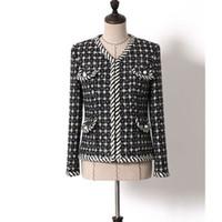 шерстяные пальто высокого качества оптовых-Высокое качество дизайнер зимние шерстяные куртки и пальто женская мода с длинным рукавом тонкий белый черный плед шерстяные пальто Леди пальто