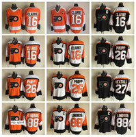 оранжевый хоккей оптовых-Ретро-хоккей 88 Eric Lindros Jersey Филадельфия Флайерз 26 Брайан Пропп 16 Бобби Кларк Черно-белые оранжевые майки Все сшитые