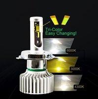 ingrosso giallo h11-Faro a LED a 3 colori / fendinebbia H1 H3 H4 H7 H8 / H9 / H11 9005/9006/9012 880/881 3000K / giallo 4300K / caldo 6000K / bianco
