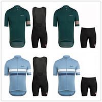 traje de carreras al por mayor-Conjunto de pantalón corto de jersey de ciclismo Rapha para hombre (babero), traje de carreras, camisa de manga corta, camiseta de mtb de bicicleta transpirable deportiva de verano