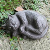 ingrosso ornamenti giardino gatti-Ferro da stiro in ferro battuto Gatto rurale in ghisa Gatto Statuetta animale Cottage Cabina Lodge Giardino da giardino Arredo da esterno Paese Ornament