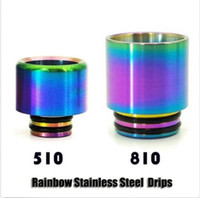 Wholesale drip tip rainbow resale online - Rainbow Stainless Steel Metal Thread SS Drip Tips Wide Bore Vape Mouthpiece For TFV8 TFV12 Prince Tank