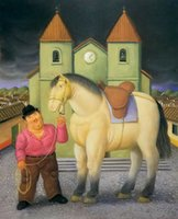 Wholesale painted horse art resale online - Fernando Botero fat horse on canvas Home Decor Handcrafts HD Print Oil Painting On Canvas Wall Art Canvas Pictures