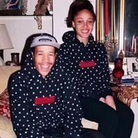 eski hip hop hoodie toptan satış-Klasik Kutusu Logo Polka Dot Triko Vintage High Street Moda Hip Hop Yüksek Kalite Pamuk Erkekler Ve Kadınlar Çift Kapüşonlular Triko HFSSWY111