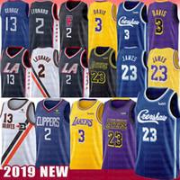 jersey 23 al por mayor-Kawhi NCAA 2 Leonard Jersey 6 LeBron James Anthony Davis 23 13 Paul George 2019 del nuevo Mens del bordado de la Universidad jerseys del baloncesto
