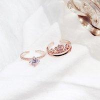 anéis duplos do punho venda por atacado-Anel popular Combinação de Duas Peças Anel Coroa Aberta Cuff Camada dupla Jóias de Luxo Anel de combinação de Coroa para As Mulheres