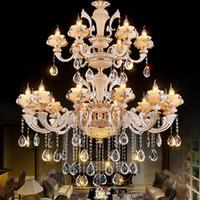 avrupa sarkıt farları toptan satış-Modern avize kolye ışık Altın yıldız tavan Led Avrupa kristal avize Dubleks merdiven büyük kilise otel Salon ışıkları lambaları