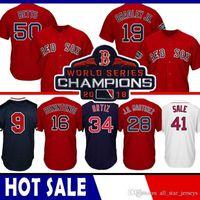 camisa de beisebol 15 venda por atacado-41 Chris Sale Boston Red Camisola de Basebol Sox 50 Mookie Betts 34 David Ortiz 28 JD Martinez 19 Jackie Bradley Jr. 15 Pedroia Benintendi CGRF