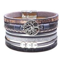 bracelet d'enveloppe d'arbre achat en gros de-2020 Femmes Bijoux Boho Style En Cuir Manchette Bracelets Multilayers Wrap Creux Arbre De Vie Pièce De Perles Large Bracelet Bracelet Bracelet M589F