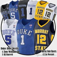 basketball jerseys blau groihandel-Männer 1 Zion Williamson Jersey NCAA Duke Blue Devils 12 Ja Morant Murray State College 5 R.J. RJ Barrett College Basketball-Trikots