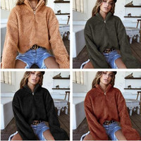 fleece gefütterte pullover großhandel-Damen Sherpa Winter Mäntel Hoodie Fuzzy Chunky Fleece Slouchy Hoodie S-3XL Gefüttert Winter Warme Pullover Volle Hülse Choker Berberfell Tops C91