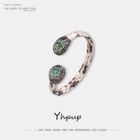 ingrosso i braccialetti della pelle di serpente-Yhpup vintage etnico rame reale pelle di serpente braccialetto di marca strass di cristallo gioielli di lusso per femminile wedding party braccialetto nuovo