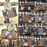 bolsas de camuflaje al por mayor-Bolsa de lona de leopardo floral a rayas Big Travel Camouflage Camo Tote bolso de retazos Asas dobles Sarah Weekenders Bag 10 colores