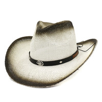 spray cap metal venda por atacado-Moda Preto Spray-pintado Cowboy Ocidental Chapéus De Palha De Papel com Escorpião De Metal De Couro Decoração Verão Ampla Brim Panama Beach Cap Sunhat