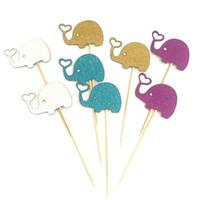 fuentes de la fiesta de cumpleaños de la magdalena al por mayor-10 unids Elefante Encantador Cupcake Toppers Hornear Plug-in vestir Elefante Pastel de Cumpleaños Decoración Del Banquete de Boda Decoración Suministros DBC DH1213