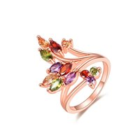 Wholesale red stones rings women for sale - Group buy Fashion Rose Gold Plated With Tree Colorful Zircon Rhinestone Rings For Women Party Jewelry FWR02
