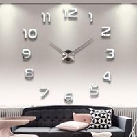 duvar saatleri 3d saat toptan satış-Ev Dekorasyon Büyük Sayı Ayna Duvar Saati Modern Tasarım Büyük Tasarımcı Duvar Saati 3D İzle Duvar Benzersiz Hediyeler