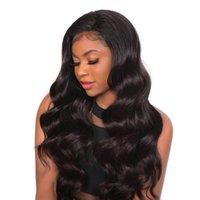 insan vücudu dalgası dolu peruk toptan satış-Tutkalsız Remy Vücut Dalga Brezilyalı İnsan saç Peruk Doğal Hairline Dantel ön ve Siyah Kadınlar Için Tam dantel Doğal Renk