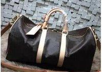 bolsa grande de equipaje negro al por mayor-nueva moda hombres negros mujeres bolsa de viaje bolsa de lona, diseñador de la marca bolsos de equipaje gran capacidad bolsa de deporte 62 CM
